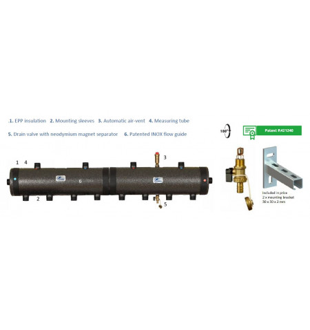 """Distribution Low Loss Header 40kW 1"""" 6 TAPPINGS"""